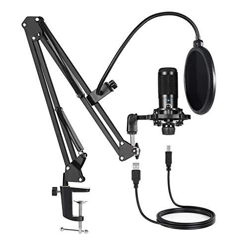 JYDQB Kit de Paquete de micrófonos con Condensador USB Profesional, Mic con Soporte de Stand de Brazo de Tijera Ajustable