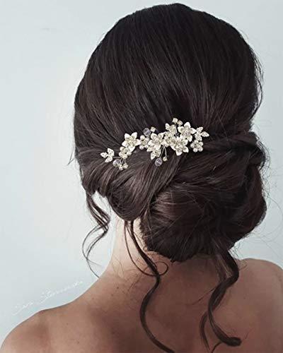 Unicra Braut Hochzeit Haarkamm Silber Blume Haarschmuck Perle Braut Kopfschmuck für Frauen und Mädchen