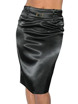 ICE (2328) Pencil Skirt Stretch Shine Satin + Free Skinny Belt