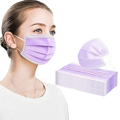 50PCS purple disposable face shield for protection 3-ply breathable dust proof