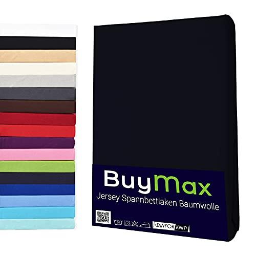 Buymax Spannbettlaken 140x200-160x200 cm Spannbetttuch Bettlaken 100% Baumwolle Jersey Bettbezug für Matratzen bis 25 cm Steghöhe, Schwarz