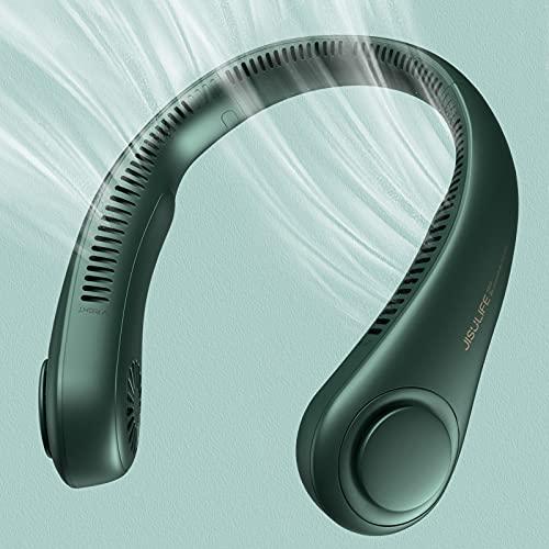 JISULIFE Ventilador de Cuello Portátil, 4000 mAh Ventilador Cuello USB Recargable con, Ventilador de Cuello Colgante Sin Hojas con 3 Velocidades-Verde Oscuro