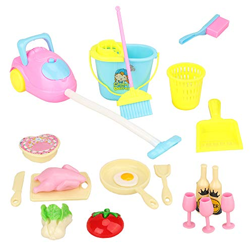 BARWA Doll Accessories Kitchen Cleaning Lot 22 Items = 17 Pcs Kitchen Sets and 5 Pcs Cleaning Supplies Pretend Play Furniture for 11.5 inch Girl Doll Xmas Gift