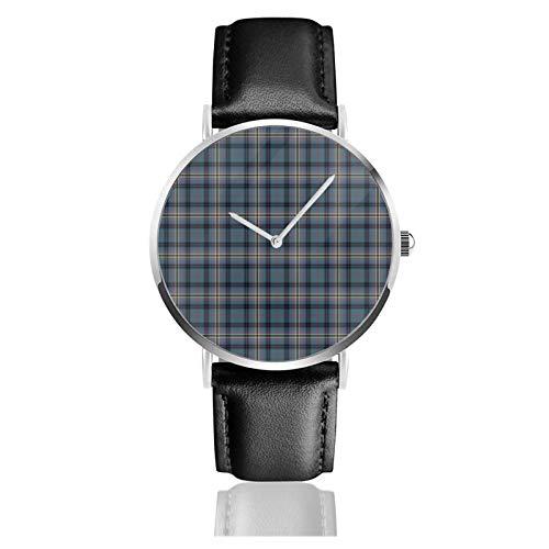 Reloj de cuero verde azulado y negro Kennedy Clan Antiguo Escocesa Plaid Unisex Clásico Casual Moda Reloj de cuarzo Reloj de acero inoxidable con correa de cuero