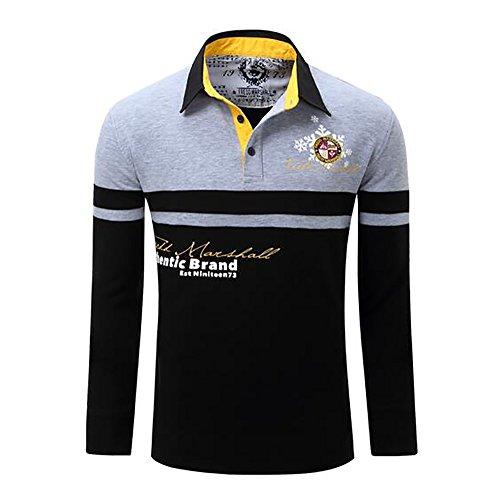Hombres Primavera Camiseta Manga Larga Golf Logotipo Bordado Camiseta Punto (XXL, Gris)