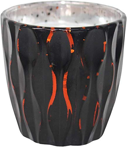 415 Votive Candle Holder with Unscented Candle, Large Studded Glass Tealight Candle Holders with Candles - 6 Pack - Red/Black