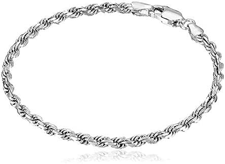 Verona Jewelers Sterling Silver Authentic Italian 4MM 4 5MM Solid Diamond Cut Twist Rope Chain product image