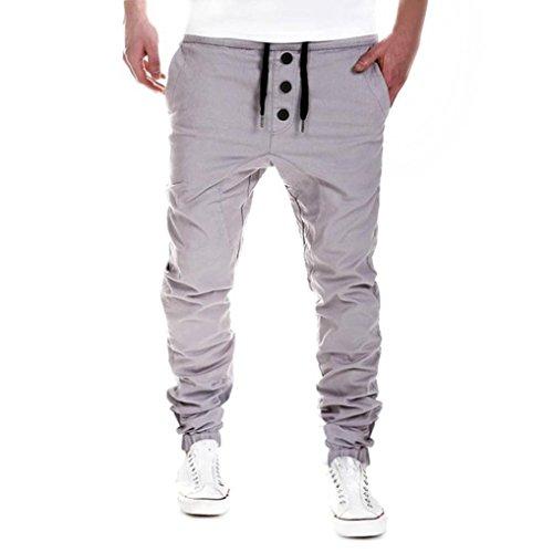 Dragon868 Hosen Herren Baggy, Herren Hosen Sweatpants Harem Hosen Slacks Casual Jogger Dance Sportwear (Grau, L)