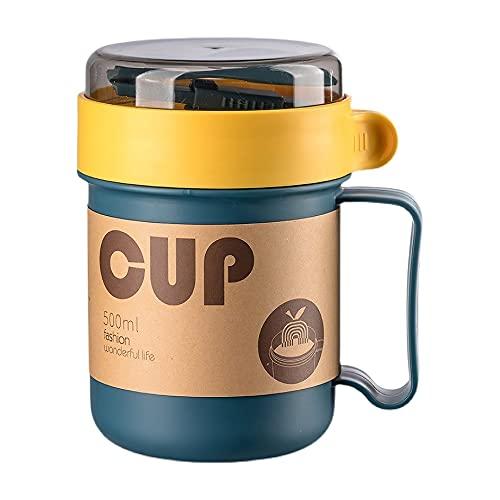 Portátil 500 ml Microondas Pequeña Taza de Agua de Plástico con Cubierta Cuchara Hornos Cereales Tazas de Desayuno Copas de Sopa Tazas de Plástico