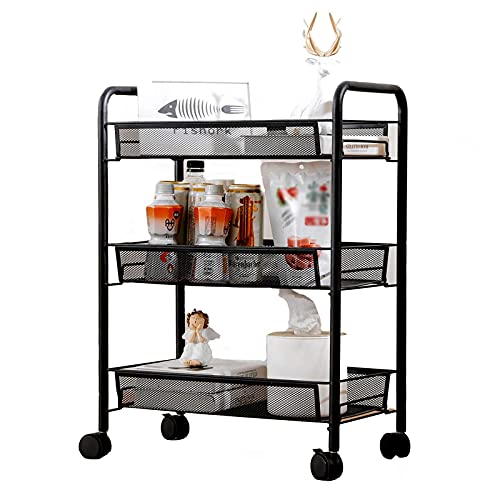 N/Z Home Equipment 3 Tier Trolley Multifunction Shelf with Casters Mesh Basket Hook Up Rolling Cart for Home Kitchen Bedroom Living Room Bathroom Storage Rack