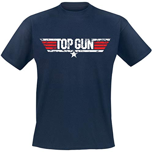 Top Gun Distressed Logo Männer T-Shirt Navy L 100% Baumwolle Fan-Merch, Film