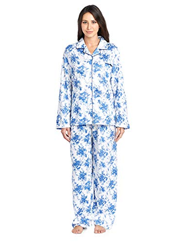 Casual Nights Women's Long Sleeve Notch Collar Floral Pajama Set - Light Blue - Large