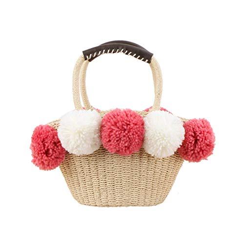 HWUDFSLG Vrouwen Rieten Tassen Mode Zomer Strand Vrouwelijke Trekkoord Handtas Lady Casual Handgemaakte Mand Weave Travel Pompom Tote