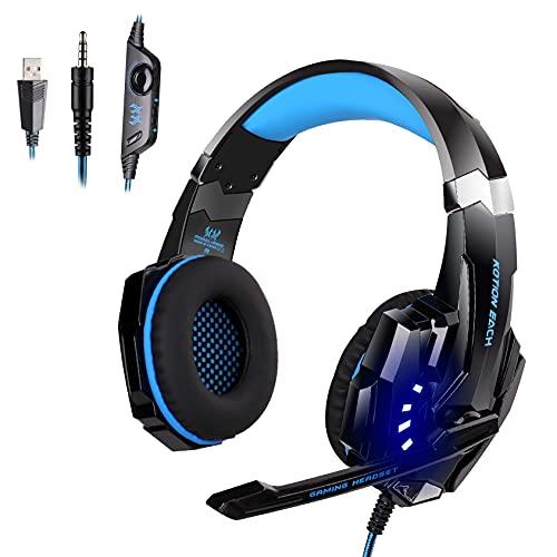 PIPRE Gaming Headset für PS4, PC, Xbox One Controller, Geräuschunterdrückung über Ohrhörer mit Mikrofon, LED-Licht, Bass-Surround, Ohrenschützer mit weichem Speicher