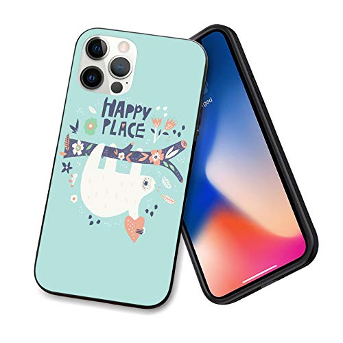 Compatible wtih iPhone 12 Pro max case,Cute Sloth Happy Place [Full Body Protection] TPU Shockproof Protective Scratch-Proof Anti-Slip Slim Hard Shell BumperCase for iPhone 12 Pro max 6.7inch