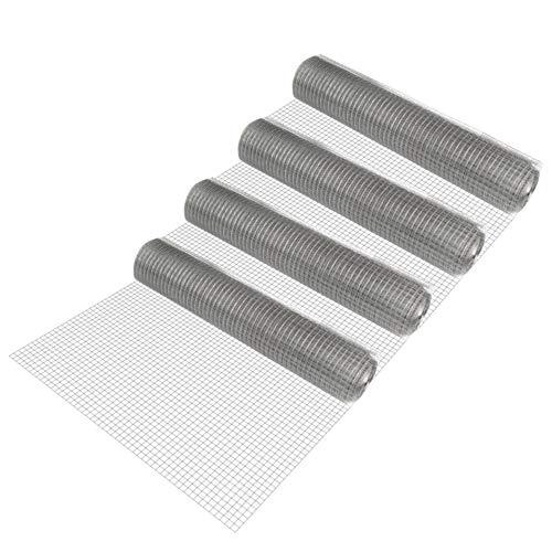 [pro.tec] 4 rotoli di rete metallica (maglia quadra)(1m x 25m)(zincata) Rete elettrosaldata Rete per voliere Rete metallica Recinzione