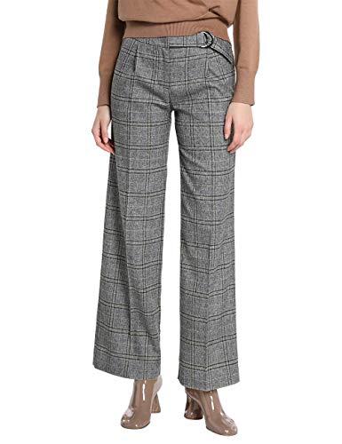 APART stylishe Damen Hose, Bundfaltenhose, grau-schwarz, leicht ausgestellte Beinform, Karo Muster, grau-Multicolor, 36