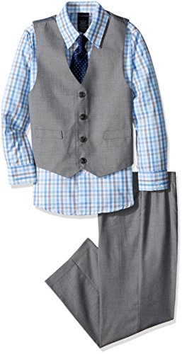 Nautica Boys' 4-Piece Vest Set with Dress Shirt, Bow Tie, Vest, and Pants, Light Grey, 6