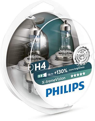 Philips 12342XV+S2 X-treme Vision Lampada Alogena H4, 12V 60/55W