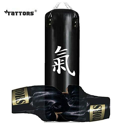 Tattors - Sacco da Boxe in Pelle, 120 cm, con Supporto e Guanti, Nero, Durchmesser: ca 35 cm x Höhe 120 cm