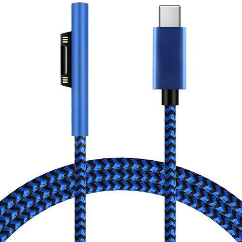 Andifany 6Ft Usb-C Charging Cable 45W Pd Charger Braided Cord for Surface Pro7 Go2 Pro6 5/4/3 Laptop1/2/3 & Surface Book Blue