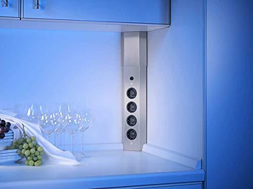 Thebo-Licht Energie-Elektrosäule ST 3008 aus Edelstahl mit 4 Steckplätzen und Mini-Schalter/Ecksteckdosen/Edelstahl-Steckdosenleiste/Steckdosen