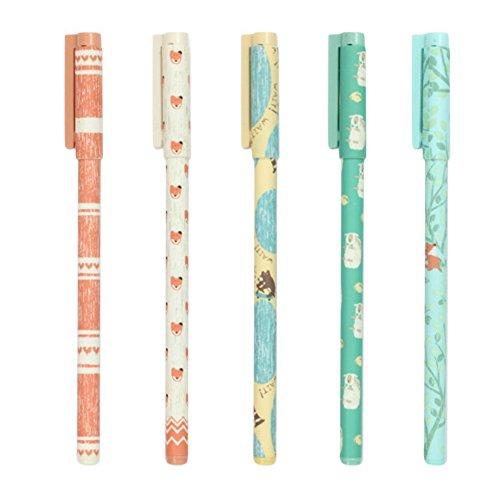 Drawihi 6 Stück Netter Fuchs Muster Kugelschreiber 0,35 mm Signatur Stift kreative Schüler Schreibwaren