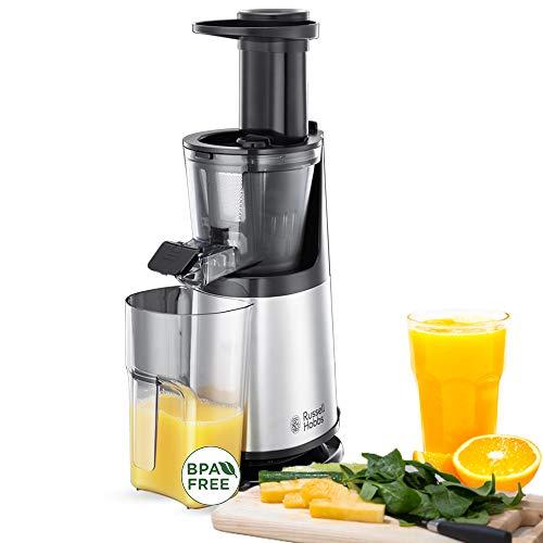 Russell Hobbs Slow Juicer Sistema di Estrazione Succo a Freddo, Corpo in Acciaio, 2 Filtri, Funzione Reverse, Affetta frutta Congelata, 150W, 25170-56