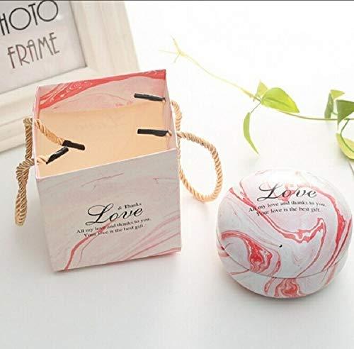 Artículos de vacaciones MMGZ romántico día de San Valentín la caja del caramelo redondo plano de caramelo caja de joyería de regalo Suministros Parte festiva Bird Box asas Home Garden, color: rosa (má