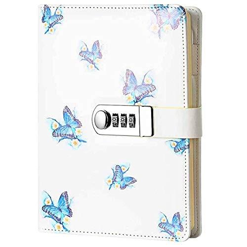 Diario Bloc de Notas Contraseña Cuaderno ,Cuaderno Diario con Contraseña ,A5,NPN112,Mariposa
