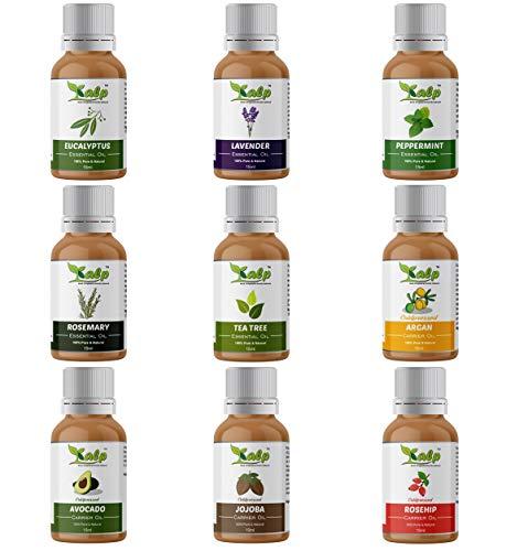 Kalp® Pack of 9 Oils -15ml Each 5 essential oils (Eucalyptus, Lavender, Peppermint, Rosemary & Tea tree) 4 Carreir Oils (Argan, Avocado, Jojoba & Rosehip)(ELPRTAAJR)