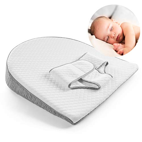 Modera Baby Reflux Wedge | Foam Bassinet Elevation Pillow with Adjustable Swaddle Belt for Infant Acid Reflux, Colic & Flat Head Correction | Soft Cushion Promotes Better Sleep, Digestion & Relaxation
