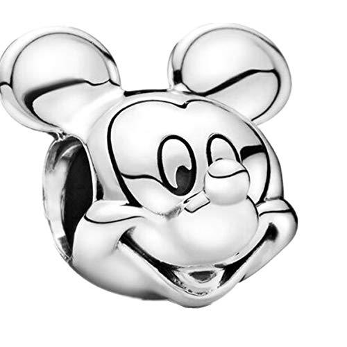 LaMenars Disney Love Charms 925 Perles de Coeur en Argent Sterling Parfait pour Bracelet Collier Cadeaux d'anniversaire pour Les Femmes (Disney Mickey Mouse)