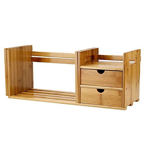 Tafelblad boekenkast - Bamboe hout Uitschuifbaar bureau Tafelblad boekenrek Boekenplanken Boekenkast organizer met 2 lades