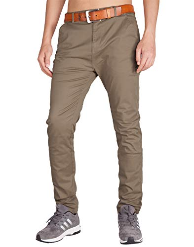 Italy Morn Herren Chinohose Chino Casual Business Stoff Hose Slim Fit (30, Holz Khaki)