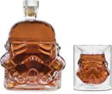 Kitchen-Well Transparent Creative Whiskey Decanter, Whiskey Carafe, for Whiskey, Vodka, and Wine, 1*Stormtrooper Bottle(750ML) & Stormtrooper 2 Glasses(8.5 x 9.5 x 9 cm)