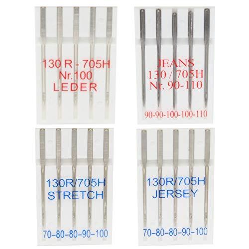 20 Nähmaschinennadeln für Jersey, Leder, Stretch und Jeans - je 5 Stück -