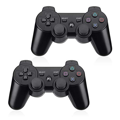 Powerextra PS3 Controller 2 Pack kabellos Bluetooth Controller PS3 High Performance Wireless Dual Schock für Spielkonsole Playstation 3 für Spielekonsole Dual Shock mit Ladekabel