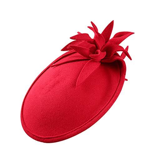 Ofgcfbvxd Ladies Top Hat Herbst- und Winter-Damen-Britisches hochwertiges Woll-Retro-Kopfschmuck-Hut-Bankett Ladies Banquet Top Hat (Color : Red, Size : One Size)