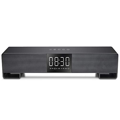 WHCCL Barra de Sonido, TV Altavoz Bluetooth Altavoces duales portátiles con Reloj Despertador Pantalla LED FM,para TV, PC, teléfono Celular, tabletas Proyector,Black