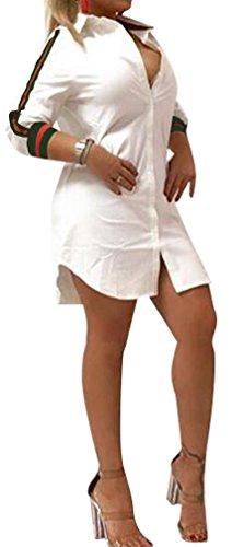 Speedle Women Sexy Long Sleeve Floral Print Button-Down Shirt Blouse Mini Dress Top White 1 M