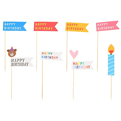 SOIMISS 10 Bags Flag Cake Topper Happy Birthday Cupcake Topper Banner Toothpick Flags Fruit Sticks for Sandwiches Appetizers Cheese Markers Colorful