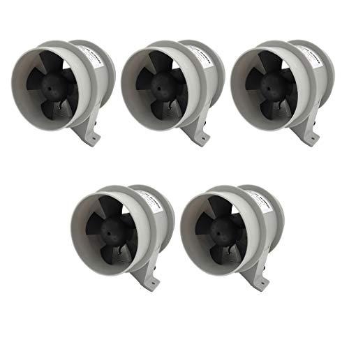Shiwaki 5 Piezas De Alto Flujo De Aire Resistente Al Agua del Ventilador Silencioso Marino De 12V - 4 Pulgadas
