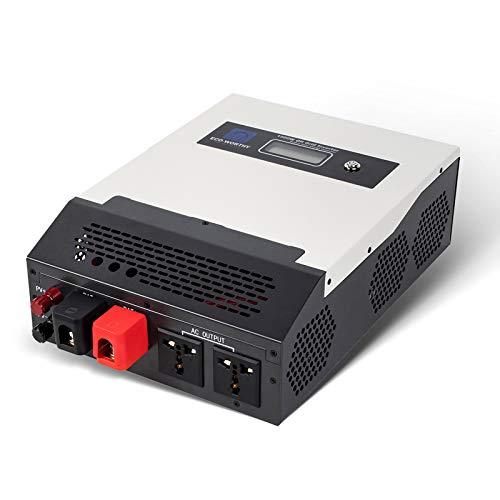 ECO-WORTHY Inversor de Carga Solar Todo-en-Uno 1500W 24V Controlador de Carga Integrado 50A, Inversor de Onda Sinusoidal Pura Fuera de la Red para Autocaravana, Hogar