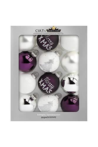 KREBS & SOHN 12-częściowy zestaw bombek choinkowych ze szkła – ozdoby choinkowe bombki na choinkę dekoracja bożonarodzeniowa – białe, liliowe, srebrne (8,0 cm), 1007222