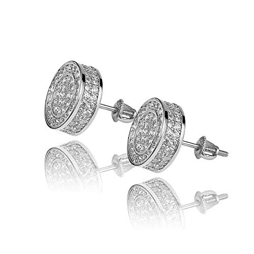 TOPGRILLZ 925 Sterling Silver Iced out CZ Premium Diamond Cluster Zirconia Round Screw Back Stud Earrings for Men Hip Hop Jewelry (Silver Big Circle)