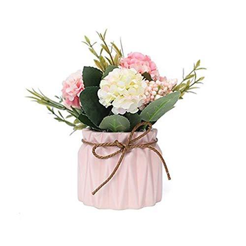 Cratone Kunstblumen im Topf Künstliche Blumen Rosen Hortensien Dahlie Rosa Blumentopf Kunststoff Bonsai Topfpflanzen für Tischdeko Hochzeit Geburtstag Party Balkon Deko-4 Sorten