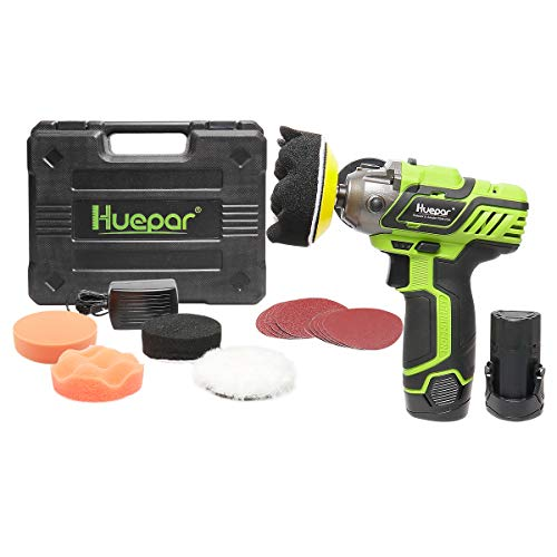 Polisher/Sander, Huepar 3-inch Cordless Lightweight Car Buffer/Waxer with Variable Speed 2800/8300RPM, Two-Position Side Handle, 2 Li-ion Batteries, 5 Polish Pads, 10 Sander Papers &Charger PS08-2120
