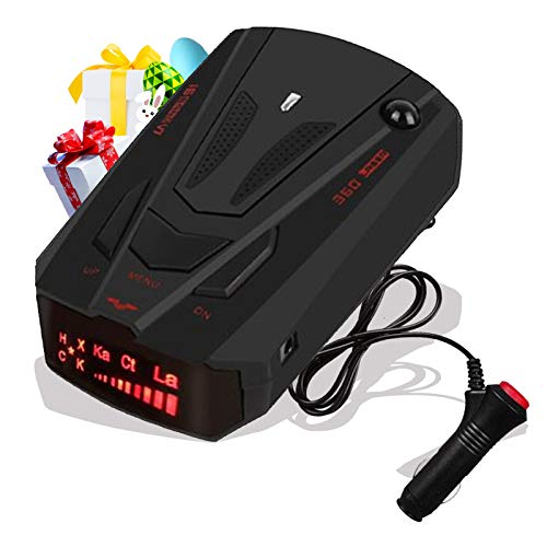 [2021 New Version] Radar Detector for Cars, Laser Radar Detectors, Voice Prompt Speed, Vehicle Speed Alarm System, Led Display, City/Highway Mode, Car 360 Degree Automatic Detection (Black)