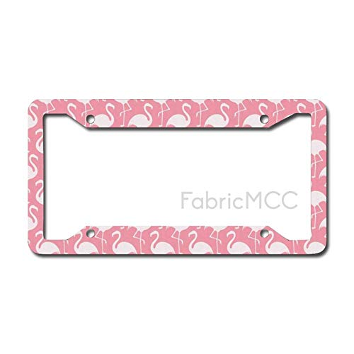 Dom576son License Plate Frame Flamingo Exotic Flamingo Silhouette in Monochrome Modern Style Artwork Print, Pink Metal Tag Border US Size 12 x 6 Inches Auto License Plate Holder